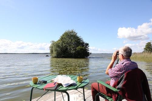 Bengt Stridh ägnar sig åt ett av sina huvudintressen, fågelskådning