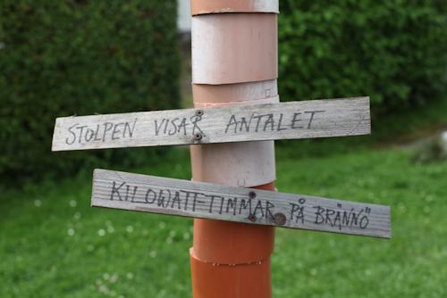 Skylten som Jörgen Larsson har satt upp utanför matbutiken på Brännö, där solcellshushållen har satt upp varsin bit avloppsrör som representerar solelproduktionen varje år
