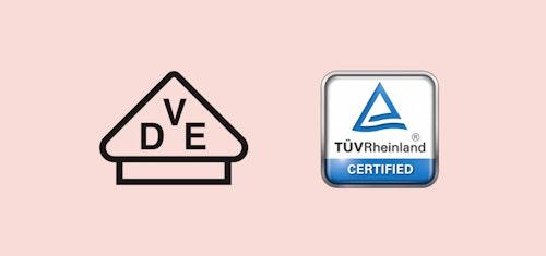 Logotyper som visar olika typer av certifieringar av solceller