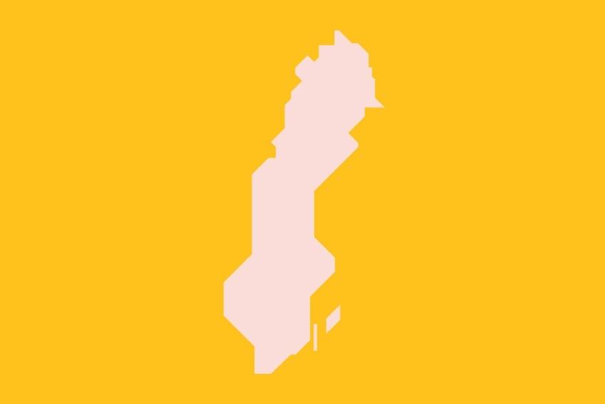 En stiliserad version av Sveriges karta