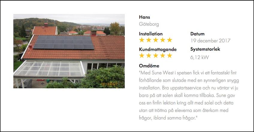 Kundomdöme av solcellsinstallation från Hans från Göteborg för Gothia Solenergi