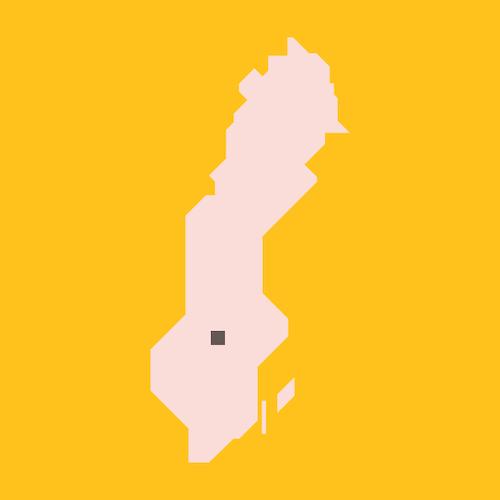 En stiliserad karta av Sverige med en liten kvadratisk ruta som motsvarar storleken på den yta som man skulle behöva täckas med solceller för att generera el motsvarande Sveriges elanvändning