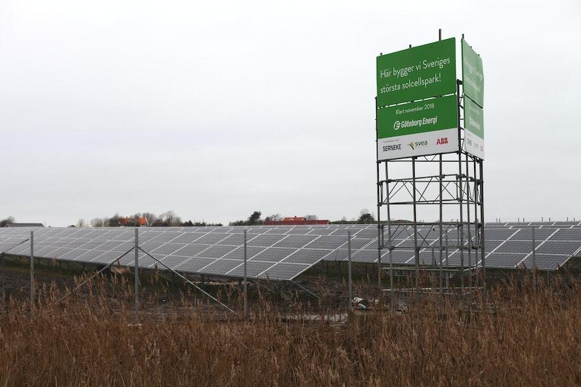 Sveriges största solcellspark vid Säve flygplats på Hisingen i Göteborg
