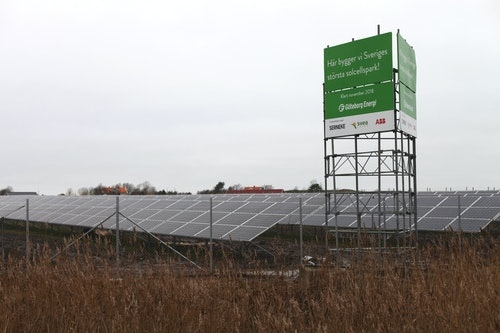 Sveriges tredje största solcellspark på Hisingen i Göteborg