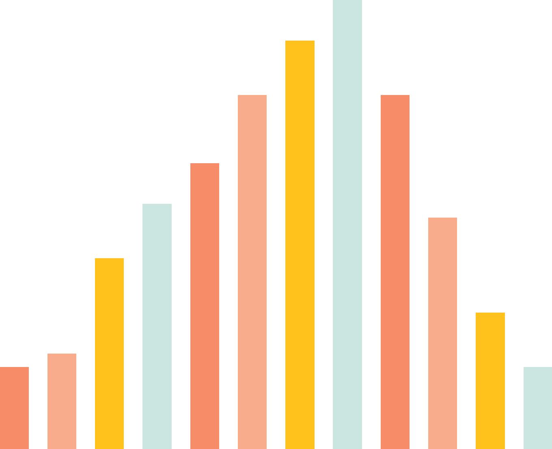 färgglatt stapeldiagram