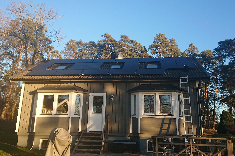 Bild på solceller i Stockholm