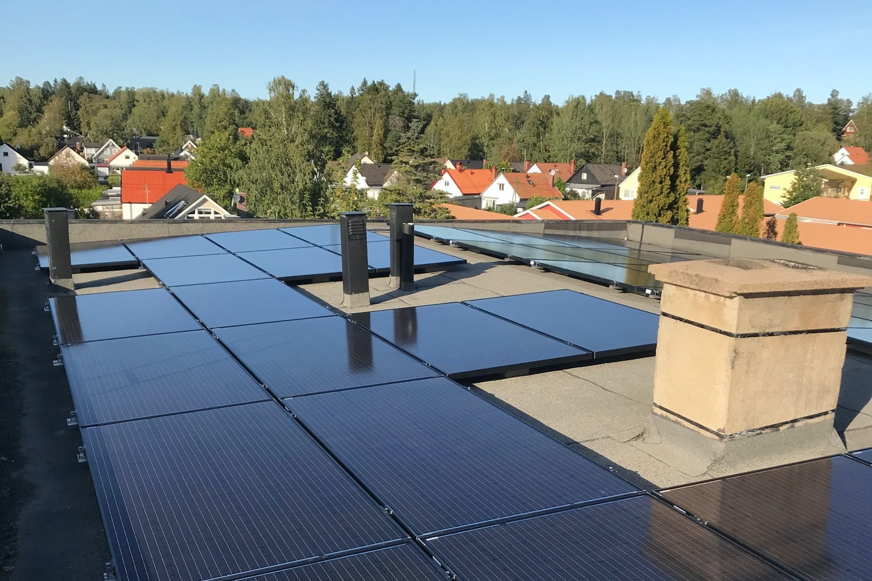 Bild på solceller i Tyresö